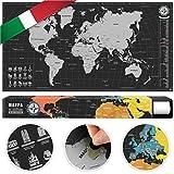 #benehacks mappa del mondo da grattare in ITALIANO - mappa a graffio - argento/nero 84 x 44 cm incl. confezione regalo