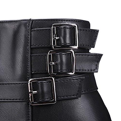 VogueZone009 Damen Schließen Zehe Blend-Materialien Niedrig-Spitze Hoher Absatz Stiefel Schwarz-Schnalle