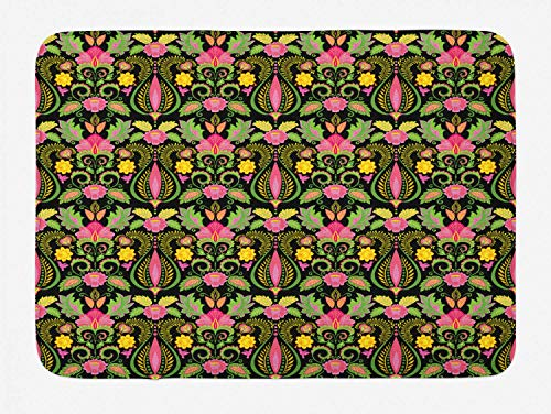 TKMSH Renaissance Bath Mat, Boho Exotic Flowers Feathers in Victorian Persian Blooms Inspirations Pattern, Plush Bathroom Decor Mat with Non Slip Backing, Multicolor,19.6X31.4 inch/50 * 80cm Renaissance-baby Cup