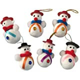 APSAMBR-Snowman for Christmas Tree Decoration (Small, Multicolour) - Pack of 6