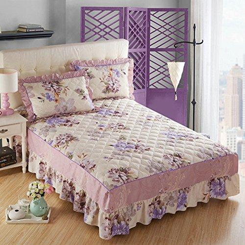 Jupe de lit Épaissir couvre-lit matelassé couverture de lit protecteur feuille-C 200x220cm(79x87inch)Version B