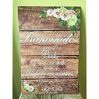 Cartel Bienvenidos a nuestra Boda flores con flores azules y fondo de madera.