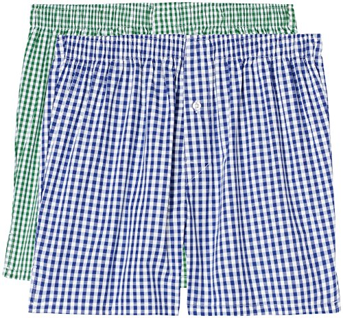 FIND Boxershorts Herren Karomuster lockere Passform 2er Pack Mehrfarbig (Blue/green Check)