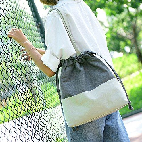 FancyBag - Tela Donna Unisex Borsa a tracolla Slide Rope Strap Design Borsa Borsa a spalla Borse Tote Croce di colore Backpack Grigio