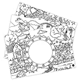Platzdeckchen zum Ausmalen I 12 Papier-Platzsets verschiedene Motive I Papier-Tischsets für Kinder I Deko Kindergeburtstag