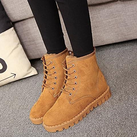San 2016 nieve oto?o e invierno m¨¢s gruesa de terciopelo botas c¨¢lidas botas de mujer de encaje esmerilado zapatos planos femenino de los estudios , yellow , 38