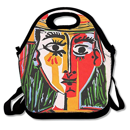 Woman In Hat Pablo Picasso Printed Portable Lunch Bag Carry Case Tote With Zipper Strap Box Cooler Container Bags Picnic Outdoor Travel Fashionable Handbag Pouch For Women Men Kids Girls