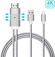 Cavo Lightning HDMI,Cavo HDMI Lightning,Connettore Lightning HDMI,USB Lightning HDMI,Baseus iPhone a HDMI 6FT HDTV MHL Adattatore del Cavo 1080P Trasmettere Audio e Video Home Cinema per Apple, iPhone X / 8/7/6/5, iPad Air / Mini / Pro, iPod Touch, Proiettore TV su Dispositivo HDMI Plug and Play (Cavo Lightning to HDMI Silver)