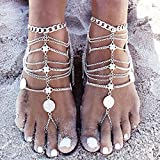 EQLEF® 1 paire Boho Vintage Argent Coin Jewelry Blessing Symbole Tassel Anklets Foot