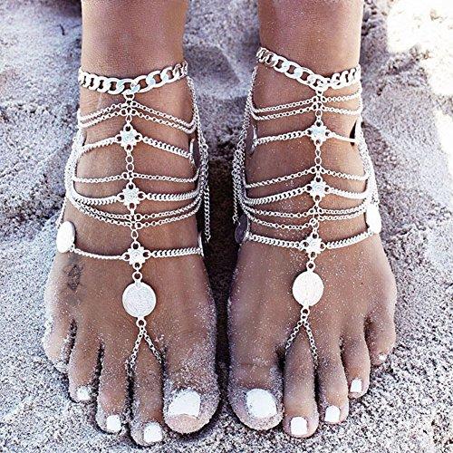 1 Paar Boho Vintage-Silbermünze Blessing Symbol Quaste Fußkettchen-Fuss-Schmuck (Partner Freunde Für Kostüme)