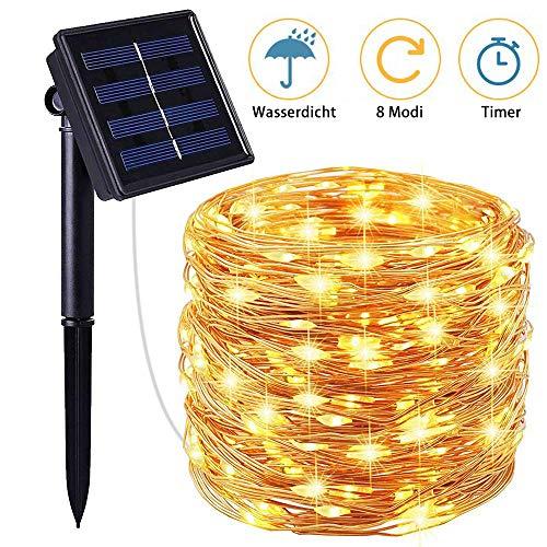Tobbiheim Solar Lichterkette mit Timer 100 LED 12 Meter Kupferdraht Außen Lichterketten 8 Modi Beleuchtung Wasserdicht IP65 Aussen Dekoration für Garten, Terrase, Balkon, Party, Outdoor- Warmweiß