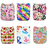 Alva Baby-6pcs Paket ausstatten Taschen Waschbar Einstellbare Tuch-Windel mit 2 Einsätze pro Stück (Mädchen Farbe) 6DM18