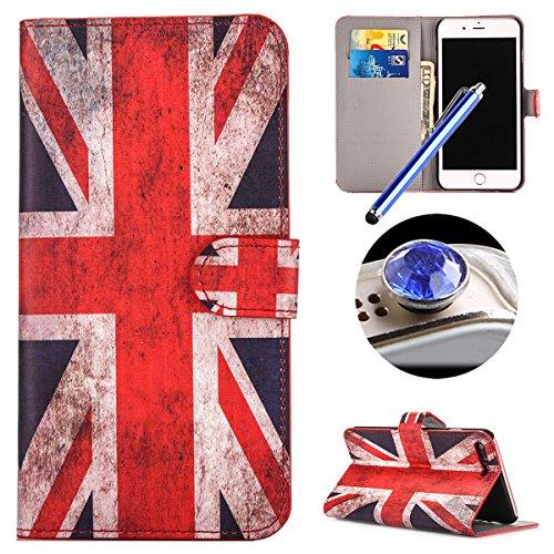Etsue Brieftasche Hülle für iPhone 7 Plus (5.5 Zoll) 2016 Flip Case Lederhülle Ledertasche Handyhülle im Bookstyle, Retro Vintage Flip Wallet Cover Handy Tasche Case Schutz Hülle Tasche Magnetverschlu UK Flagge