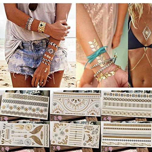Amaoma 6 fogli 70 modelli tatuaggio temporaneo, lusso metallico oro e argento tattoo adesivi tatuaggi temporanei, vendita calda impermeabile rimovibile, frecce piume braccialetti da polso e bracciali