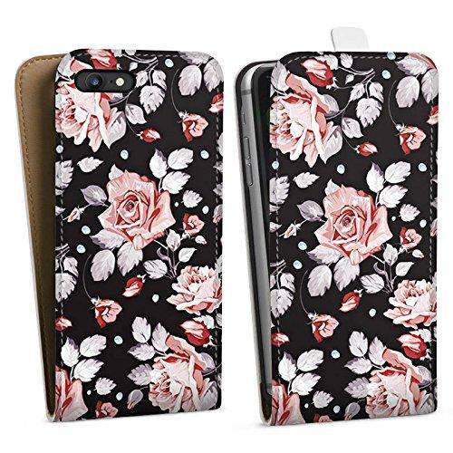 Apple iPhone 6 Tasche Hülle Flip Case Rosen Blumen Muster Downflip Tasche weiß