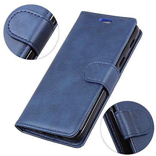 Gray Plaid Coque Samsung Galaxy J4 Core, Rétro PU Cuir Portefeuille Flip Magnétique Housse de Protection avec Titulaire de Carte pour Samsung Galaxy J4 Core - Bleu