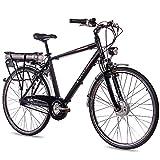 CHRISSON 28 Zoll E-Bike Pedelec City Bike Herrenrad Fahrrad E-Gent mit 7G Nexus & BAFANG 36V 13,4Ah Akku schwarz matt