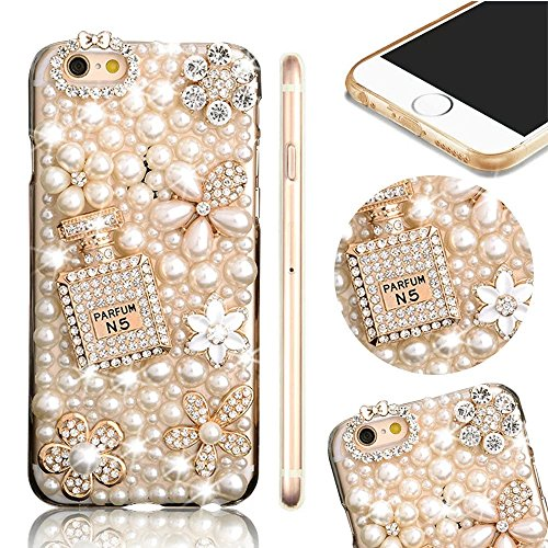 Bling Bling iPhone 6S Hülle, MOMDAD Diamant Glitzer Glänzend Handmade Schutzhülle für iPhone 6S 6 Handyhülle Transparent PC Hart [Blume Parfüm Perfume Eiffelturm Eiffel Tower] Case Cover Luxus Crystal Diamond # 8