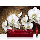 Vlies Fototapete 416x254cm PREMIUM PLUS Wand Foto Tapete Wand Bild Vliestapete - Orchideen Tapete Holzstamm Herz Orchideen Blumen weiß - no. 1819