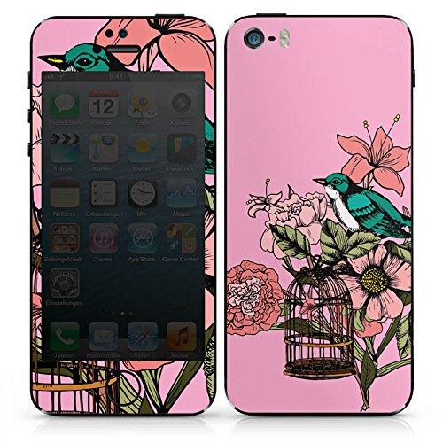 Apple iPhone SE Case Skin Sticker aus Vinyl-Folie Aufkleber Vogel Tattoo Blumen DesignSkins® glänzend