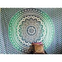 Indian turquesa azul blanco manta Hippie gitana cubierta Animal Elefante, de flores de dormitorio Deco 100% algodón Reina doble 95