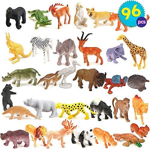 Juego De 96 Piezas Mini Animales Jungla - Figuras Zoo Pequeños Bosque...