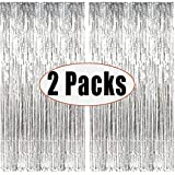 Party Monster Set of 2 Silver Metallic Fringe Foil Curtain (3 ft x 6 ft) Photo Booth for Birthday, Wedding, Anniversary Decor