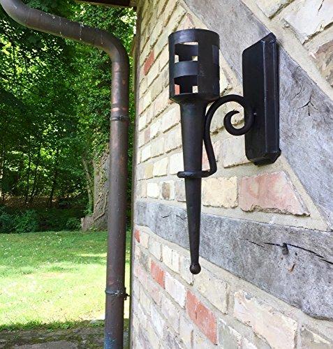 Antikas | Fackel aus Eisen | Höhe: 40 cm - Tiefe: 19 cm | Wandfackel für die Hauswand | mittelalterliche Burgfackel