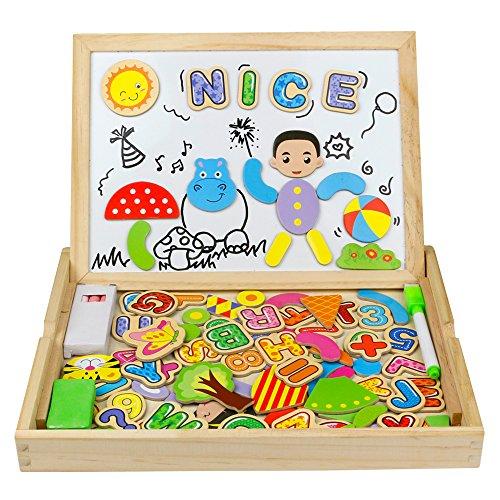 olzbrett Holzpuzzles Zeichnung Spielzeug 100 Stück Lernspielzeug für Kinder 3 4 5 6 Jahren Alt (Magnetischen Trocken Abwischbaren Boards)