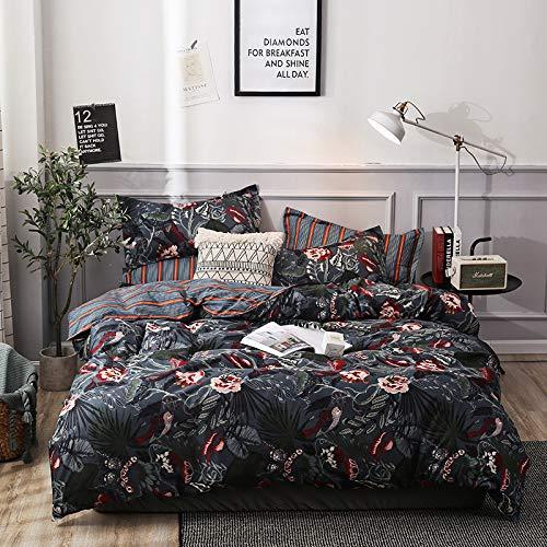 SHJIA Bettbezug Luxuriöse weiche und Pflegeleichte Bettwäsche Wohnkultur schwarz 200x200cm