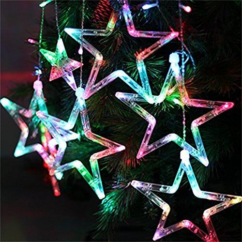 Locisne 138 LEDs verknüpfbar 12pcs Sterne 1m * 2m Vorhang Licht Fensterleuchten mit 8 Modi für Weihnachten Innen Lampe Urlaub Neujahr Hochzeitsparty Weihnachtsbaum House Dekoration(bunt)