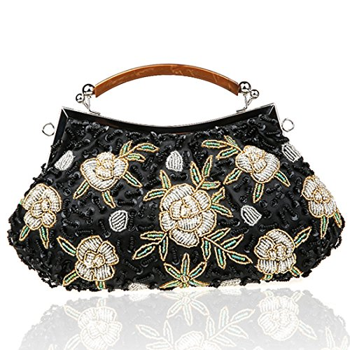 YYW Vintage Clutch Bag, Poschette giorno donna Black3