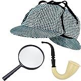 German Trendseller Sherlock Holmes SET Deluxe┃ - NEU -┃ Fasching ┃ Karneval ┃ Detektiv - Spar Set ┃ Pfeife - Mütze - Lupe