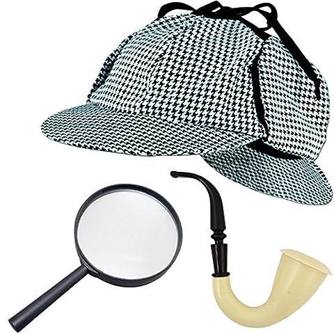 German-Trendseller ® - déguisement Sherlock Holmes┃set détective┃pipe, loup, casquette┃ carnaval accessoire┃policier