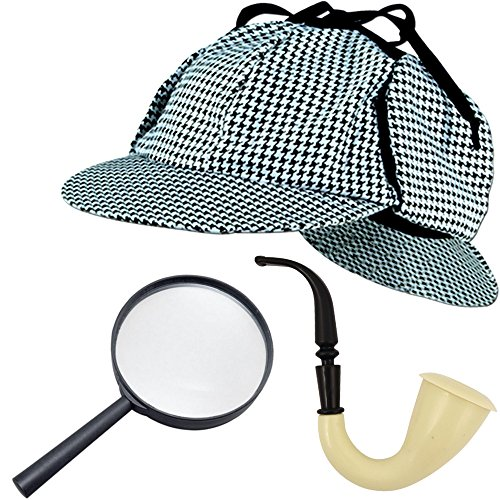 German Trendseller® ┃ Sherlock Holmes SET Deluxe┃ - NEU -┃ Fasching ┃ Karneval ┃ Detektiv - Spar Set ┃ Pfeife - Mütze - (Kostüme Party James Bond)