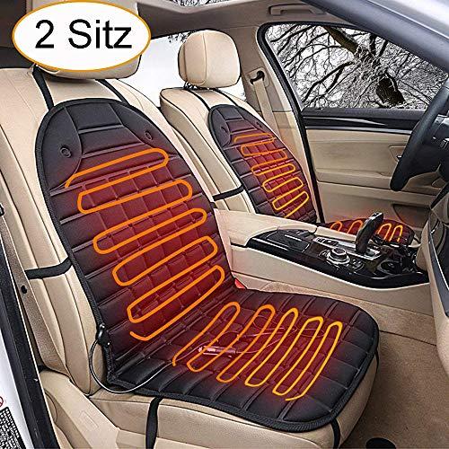 STYLINGCAR Beheizte Sitzauflage 12V Auto Sitzheizung Heizkissen Universal Regulierbare Vordersitz Heizauflage (Schwarz 2 Stück)