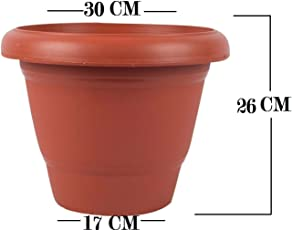 First Smart Deal Plastic Round Pot Set (12-inch, Brown, Pack of 6)