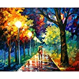 Van Eyck Couple Walking in Tree-lined Paths Colorful Palette Knife Oil Painting of Tree Wall Canvas linen Art Prints Pictures Wall Art for Bedroom Living Room HD-122
