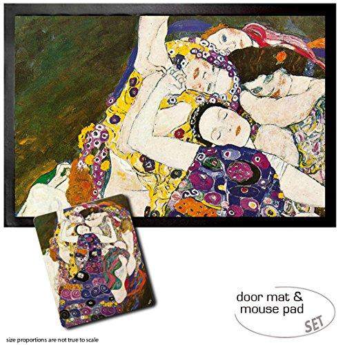 Set: 1 Fußmatte Türmatte (60x40 cm) + 1 Mauspad (23x19 cm) - Gustav Klimt, Die Jungfrau, 1912-1913