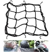 Vatsas Universal Bungee Cargo Luggage Net Holder for Bike and Motorcycle - Strong and Elastic 30 x 30cm Mesh Rope Straps for Holding Bags, Helmet or Box (Black)
