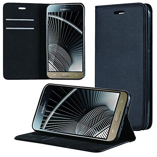 ECENCE Hülle für Samsung Galaxy J3 (2016) Duos Wallet Book Case Handy-Schutzhülle Handycover Klapphülle mit Kartenfach und Ständer Schwarz Schale Schwarz 11020307