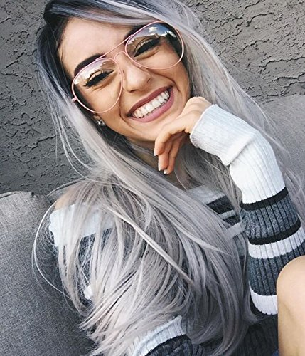 Vébonnie Synthetic Silver Wigs for Women Best Grey Wig Rooted Black Ombre Gray Wigs Realistic Looking Natural Wavy Ombre Lace Front Wigs uk 22 inches Long Wig Heat (Graue Perücke)