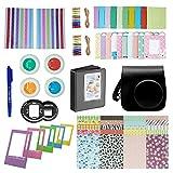 FollowSun 10 en 1 Kit d'Accessoires Pour Appareils photo instantané Fujifilm Instax Mini 8/8s/8+, Inclus Etui Caméra Noir/Album (64 Poches)/Selfie Objectif/Filtres Colorés (4 Couleurs)/ Cadres de Support Mural (20 Pièces)/Cadres de Photo (5 Pièces)/Bordures Autocollants (40 Pièces)/2 Coins Autocollants/Stylo