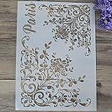 Flybuild - Stencil elegante per stampe, disegno, pittura, aerografo, scrapbooking, album, decorazioni fai-da-te K