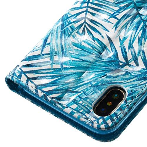 Cover iphone X ,Custodia iphone X, COZY HUT Elegante borsa sollievo Design in Pelle PU Case Cover Protettiva Flip Portafoglio Case Cover Protezione Caso per iphone X / con Supporto di Stand / Carte Sl Foresta pluviale tropicale