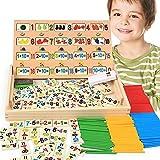 DS-Mart Giocattoli didattici in legno Montessori,Matematica conteggio degli strumenti per l'insegnamento della scuola materna e conteggio di aritmetica Giocattoli educativi per bambini