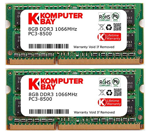 Komputerbay 16GB Dual Channel Kit 2x 8GB 204pin DDR3-1066 SO-DIMM PC3-8500 1066 (1066MHz, CL7) per Apple