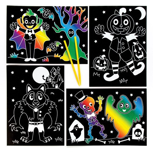 Kratzbilder Halloween für Kinder als Bastel- und Deko-Idee zum Gestalten zu Halloween für Jungen und Mädchen (6 Stück)