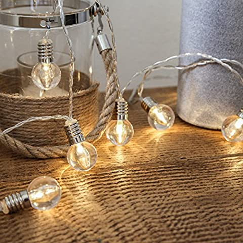 Mini Festoon String Lights - Battery Operated - Clear Bulb - 10 Warm White LEDs - 1.5m by Festive