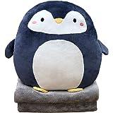 """DXDE4U 3 in 1 zachte pinguïn pluche kussen deken set - 16"""" gevuld dierenspeelgoed gooien kussen met koraal fleece deken (63"""""""